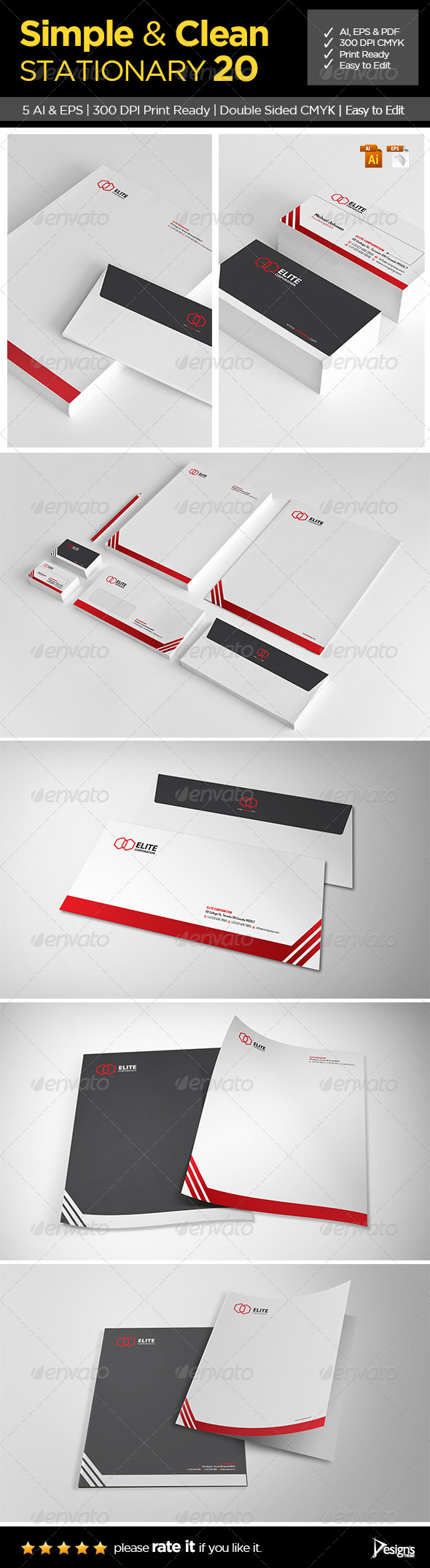 GraphicRiver Simple and Clean Stationary 20 6651901