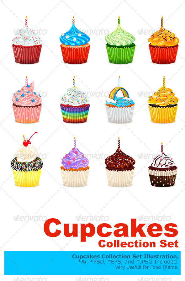 GraphicRiver Cupcakes Vector Illustration Collection Set 6651905