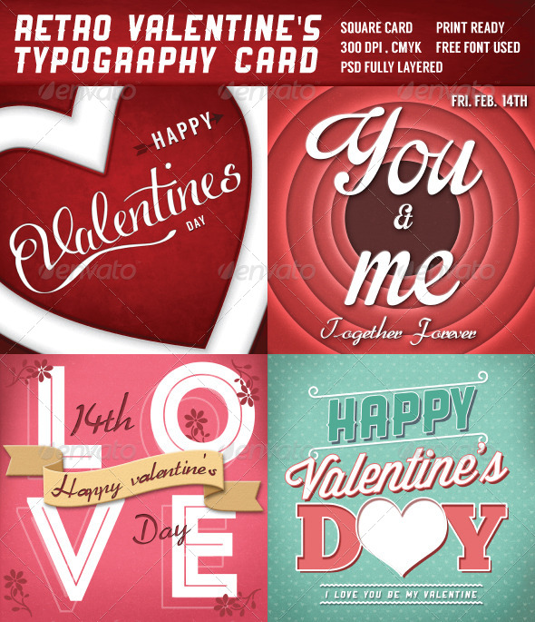 Retro Valentines Typography Cards - Miscellaneous Backgrounds