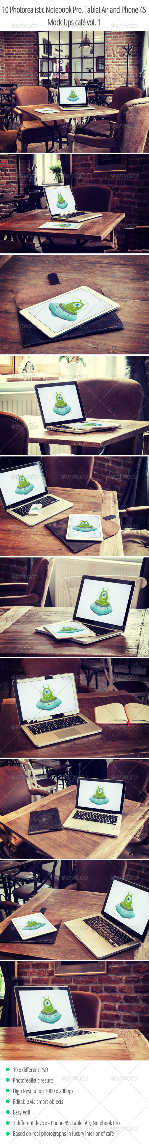 10 Photorealistic Device Mock-Ups in Cafe Vol.1