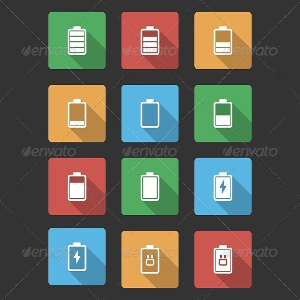 GraphicRiver Battery Black Icons with Long Shadow 6652750