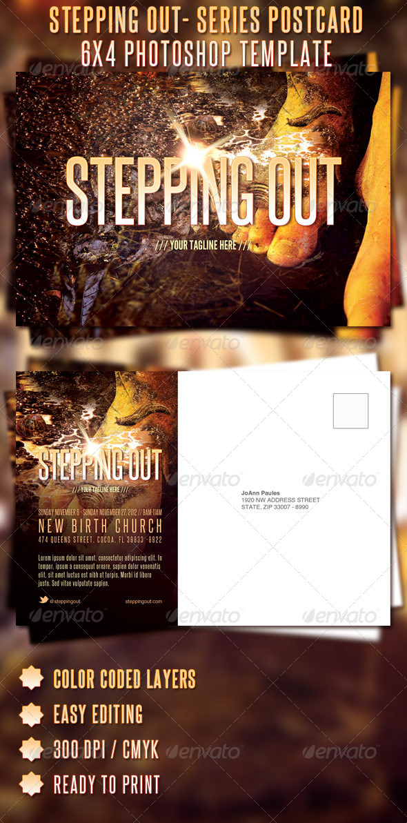 GraphicRiver Stepping Out Sermon Series Postcard Template 697027