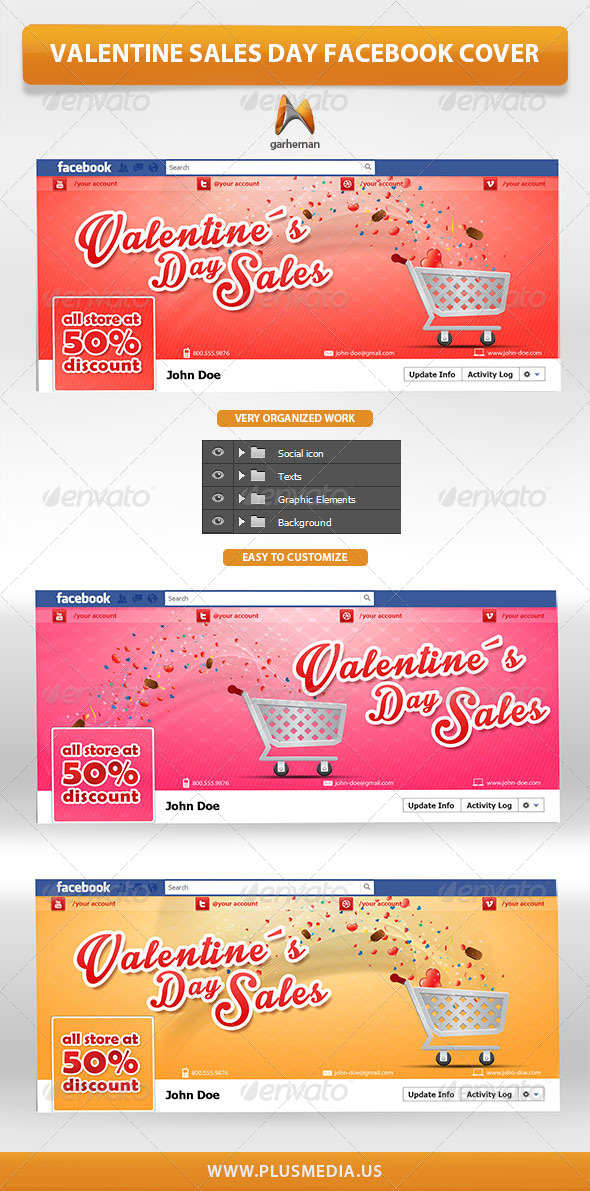 GraphicRiver Valentine Sales Day Facebook Cover 6653079