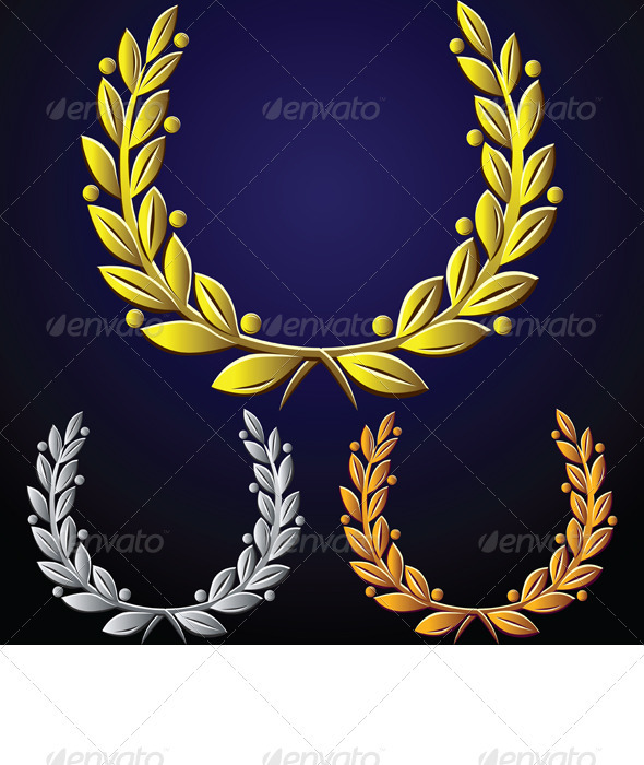 Vector set of golden laurel wreaths, silver, bronz - Decorative Symbols Decorative