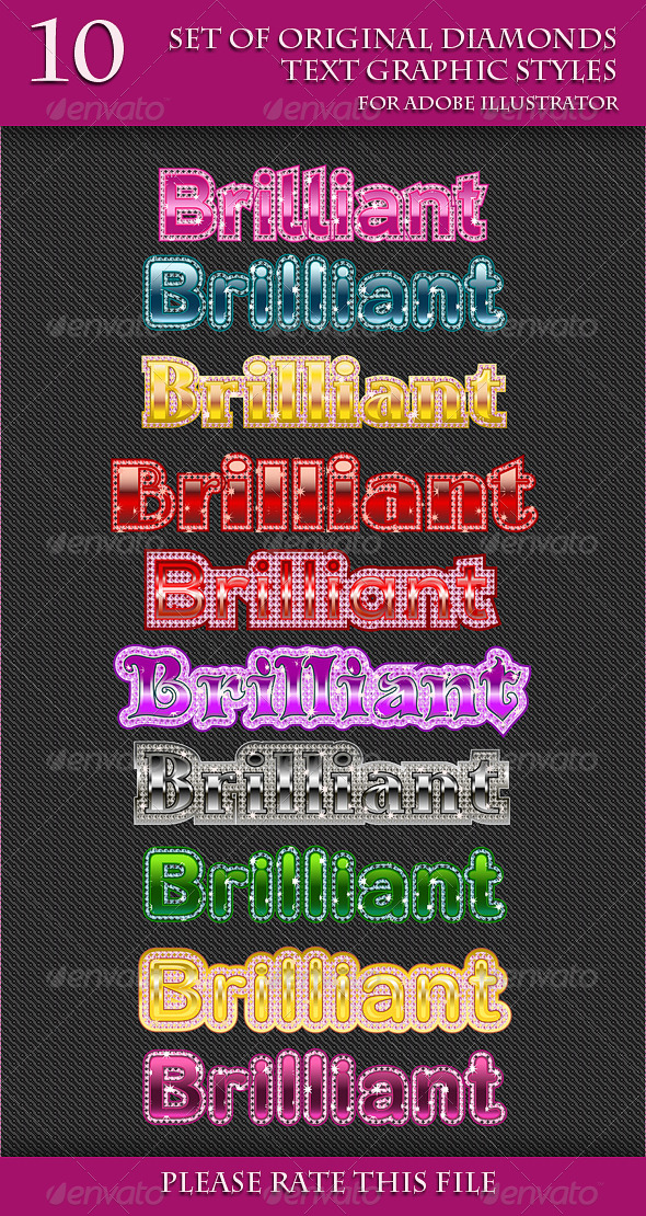 GraphicRiver Set of Original Diamonds Text Grapic Styles 6654058