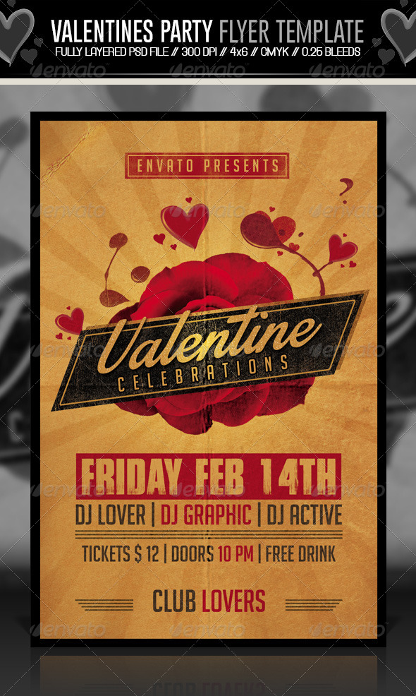 GraphicRiver Valentines Party Flyer Retro 6650142