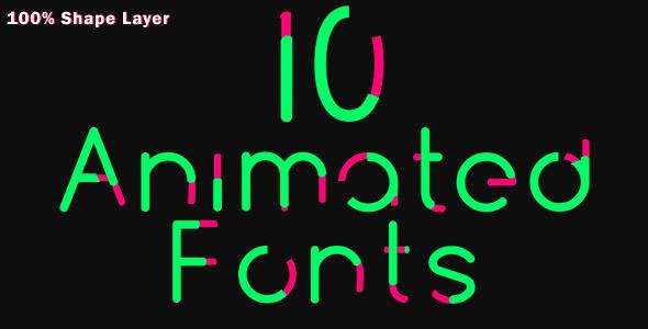 AE模板:10组英文字母动画排版扁平化风格展示模板Videohive 10 Animated Fonts