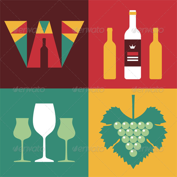 GraphicRiver Wine Icons in Flat Design Style 6654200