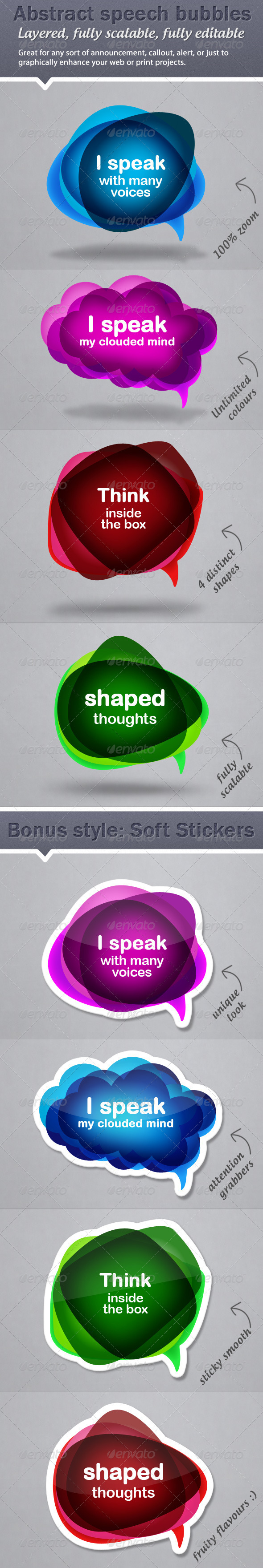 Colourful Abstract Speech Bubble Callouts