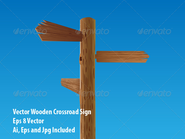 GraphicRiver Wooden Crossroad Sign 6647478