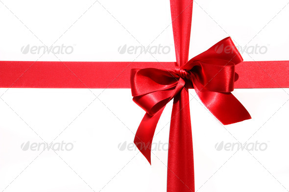 Big red holiday bow on white - Stock Photo - Images