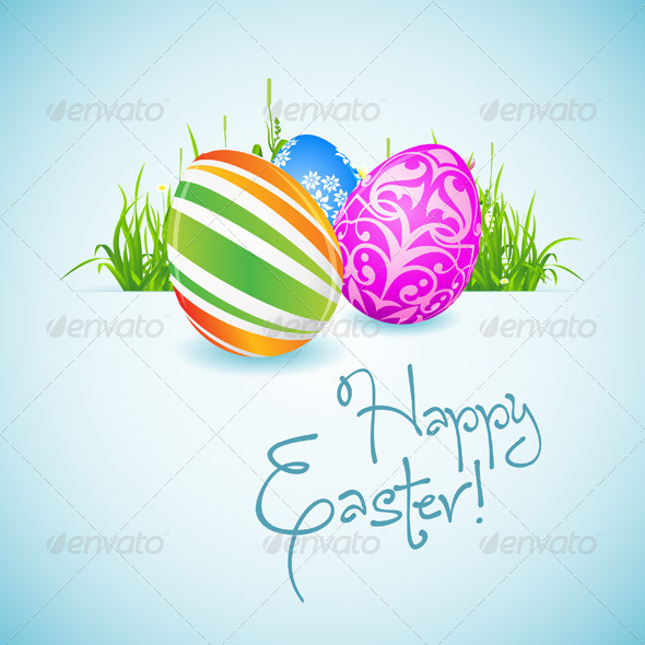 GraphicRiver Easter Background with Decorated Eggs 6655579