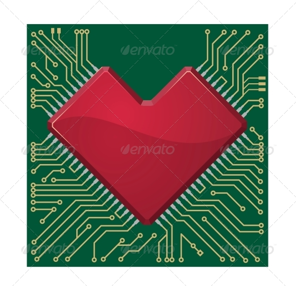 GraphicRiver Heart on a Circuit Board 6655658
