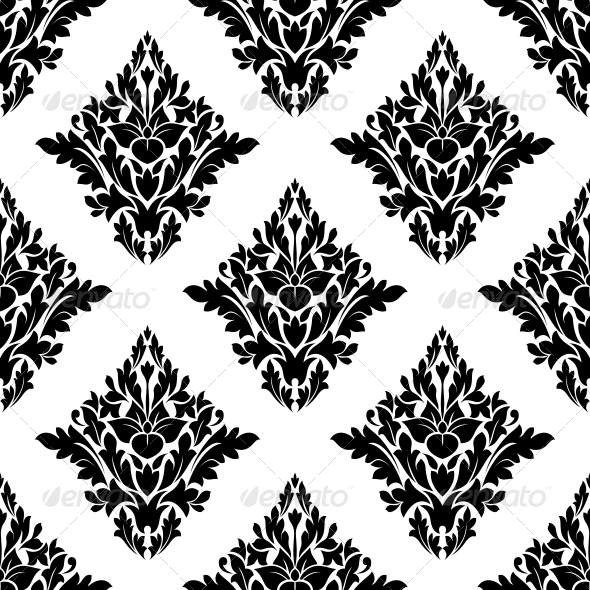 Seamless Arabesque Pattern in Diamond Shape
