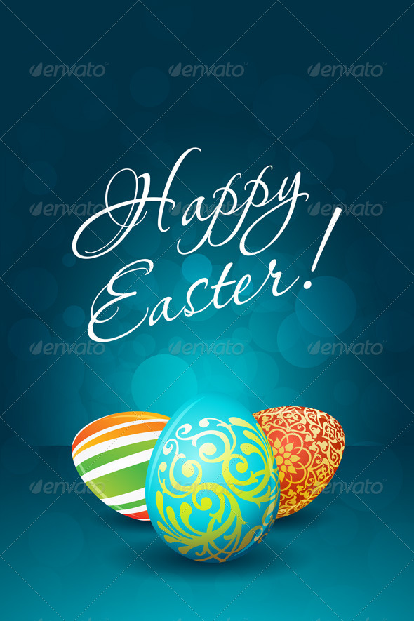 GraphicRiver Easter Background with Decorated Eggs 6655773