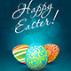 Easter Background with Decorated Eggs