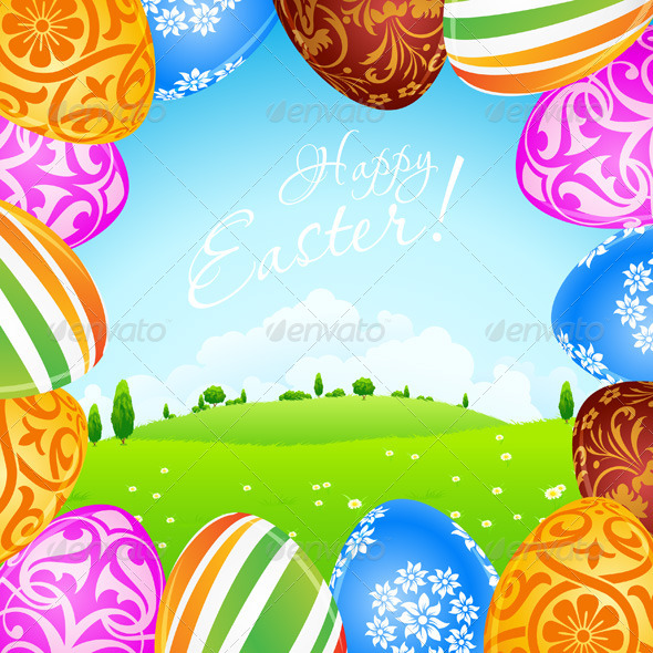 GraphicRiver Green Landscape Background with Easter Eggs 6656150
