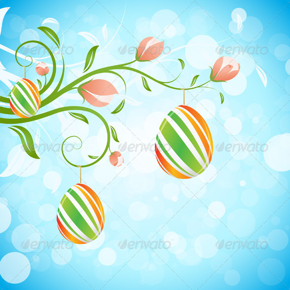 GraphicRiver Easter Background with Decorated Eggs 6656187