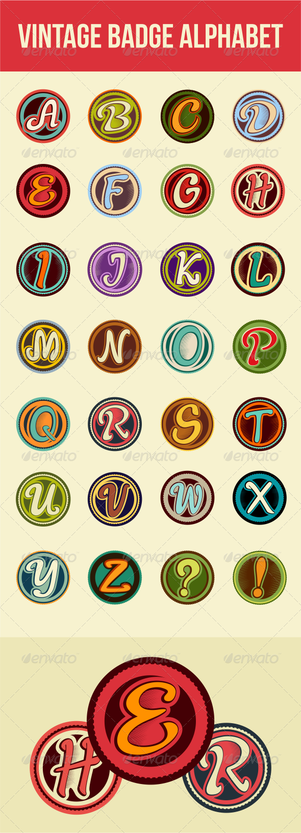 GraphicRiver Vintage Badge Alphabet 6656538