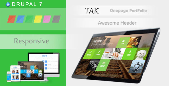 preview.  large preview - TAK - Responsive Onepage Portfolio Drupal