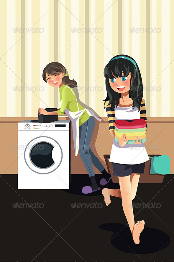 GraphicRiver Mother Daughter doing Laundry 6656924