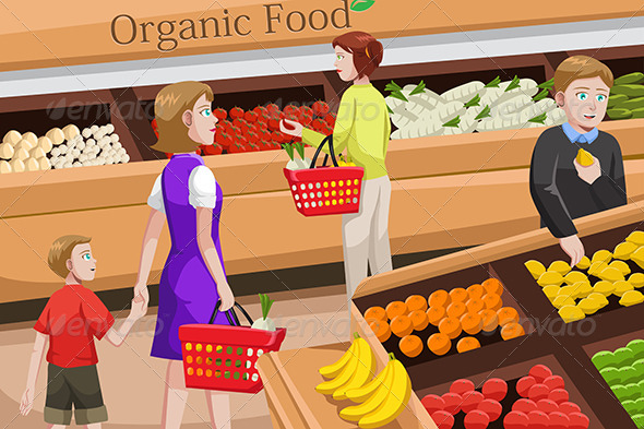 GraphicRiver People Shopping for Organic Food 6656948