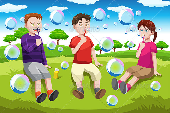 GraphicRiver Kids Blowing Bubbles 6656956