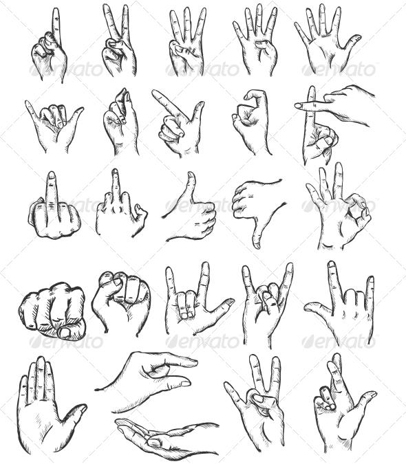 GraphicRiver Sketch Finger Gestures 6657276