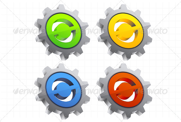 GraphicRiver Gear Icon Set Illustration 6657520