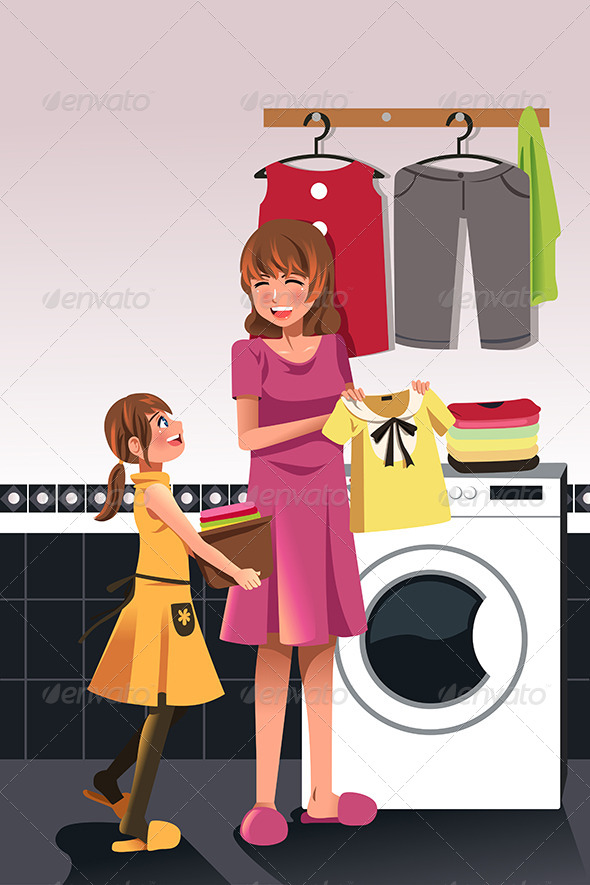 GraphicRiver Mother Daughter doing Laundry 6657585