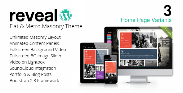 Reveal - Flat & Metro Masonry Wordpress Theme