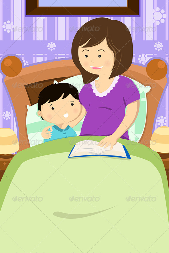 GraphicRiver Mother Reading a Bedtime Story 6657721
