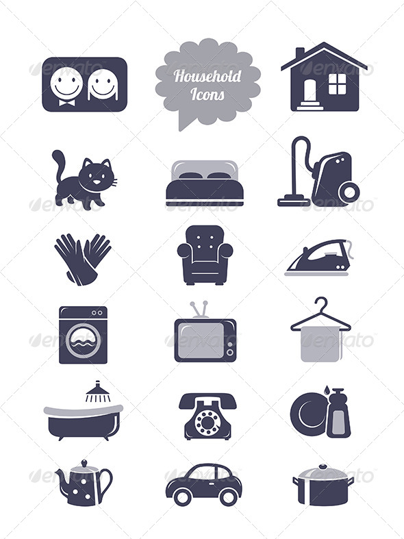 GraphicRiver Household Icons Set 6657814