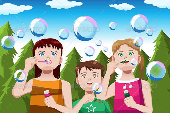 GraphicRiver Kids Blowing Bubbles 6657910