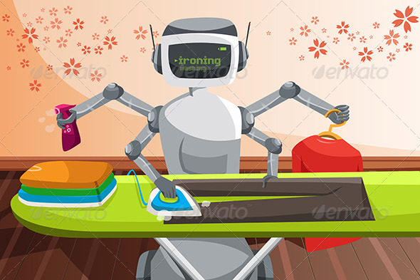 GraphicRiver Robot Ironing Clothes 6657960