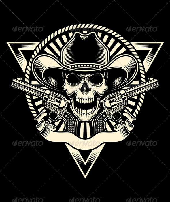 GraphicRiver Sheriff Skull With Revolver 6658024