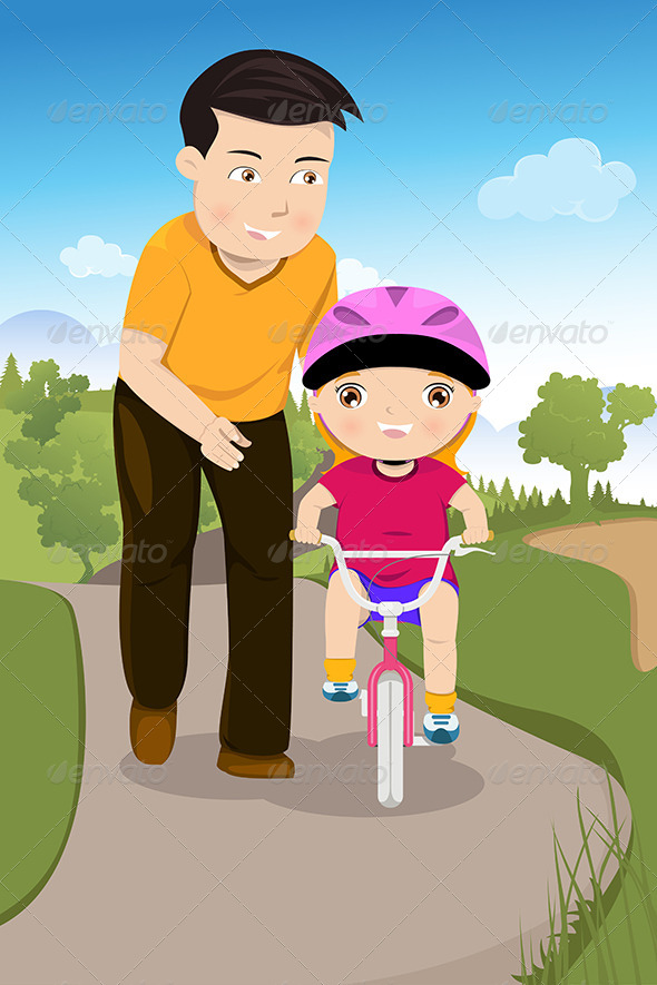 GraphicRiver Father Teaching his Daughter Riding a Bike 6658080