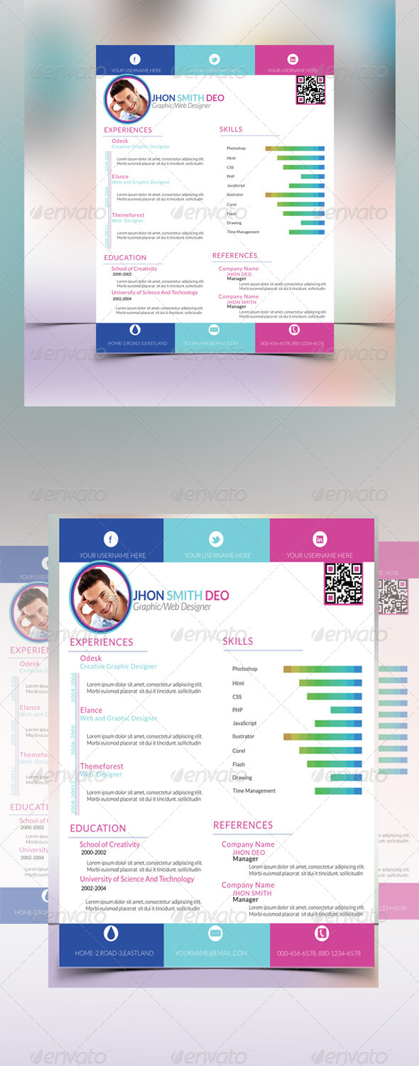 GraphicRiver Colorful One Page Resume 6644060