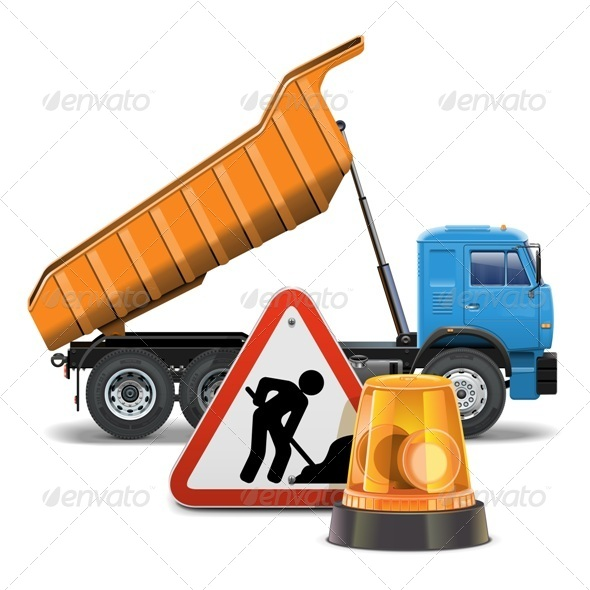 GraphicRiver Vector Tipper with Sign and Beacon 6658127