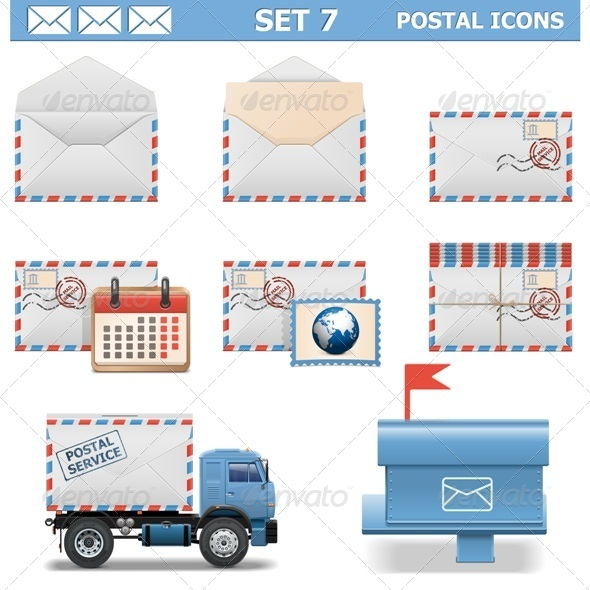 GraphicRiver Vector Postal Icons Set 7 6658326
