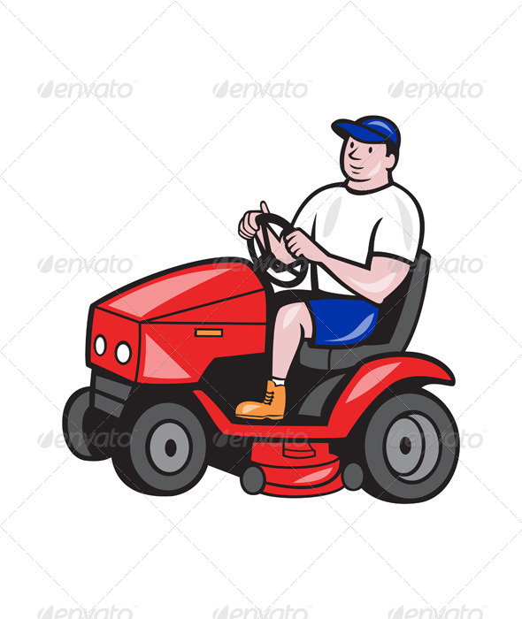 GraphicRiver Gardener Mowing Rideon Lawn Mower Cartoon 6658748