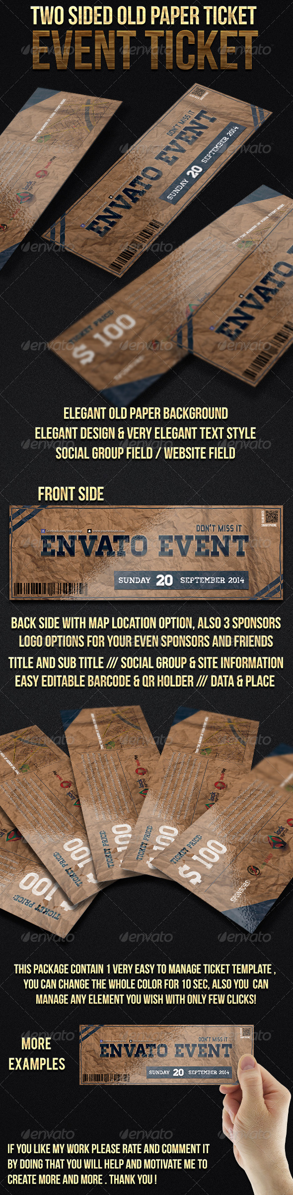 GraphicRiver Two Sided Old Paper Event Ticket 6655844