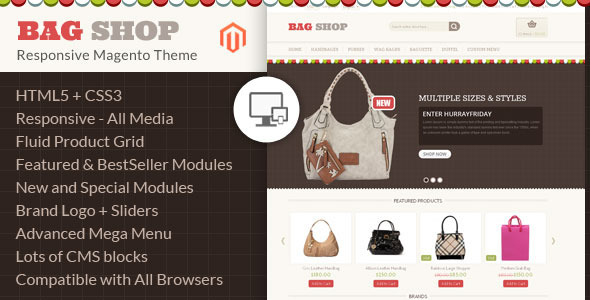 ThemeForest Bag Shop Magento Responsive Template 6659443