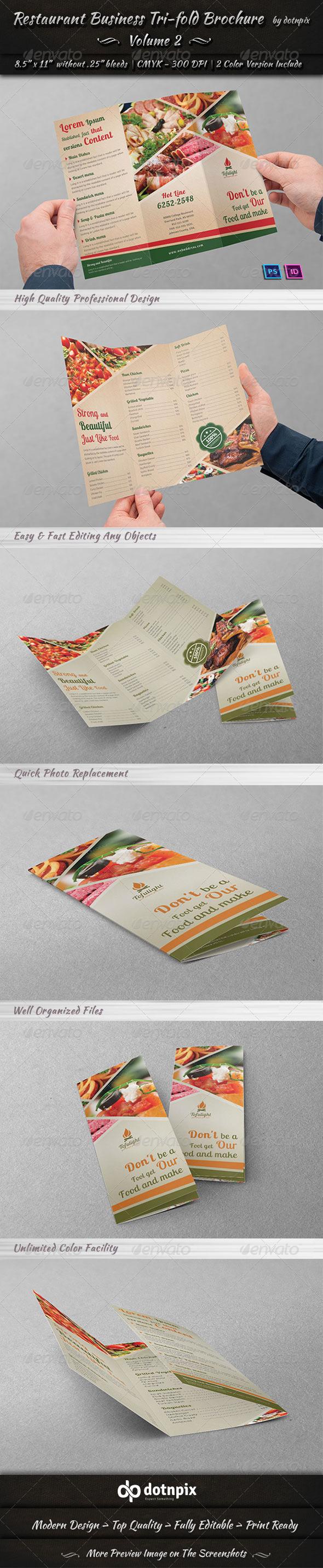 GraphicRiver Restaurant Business Tri-Fold Brochure Volume 2 6659445