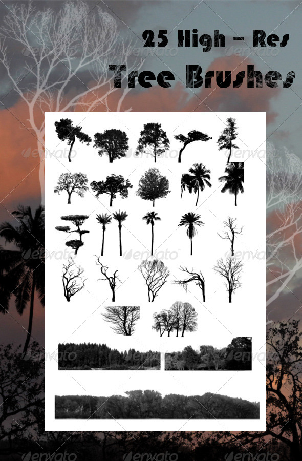 GraphicRiver 25 Tree Brushes 6659766