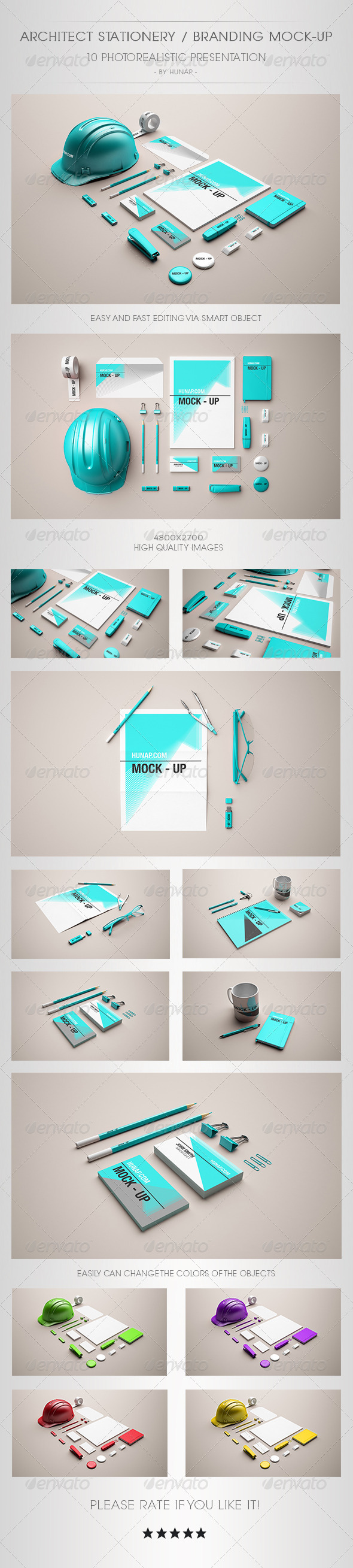 GraphicRiver Architect Stationery Mock-Up 6659834