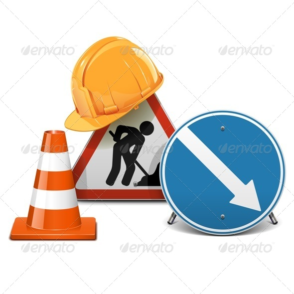 GraphicRiver Vector Road Signs with Helmet and Cone 6659925