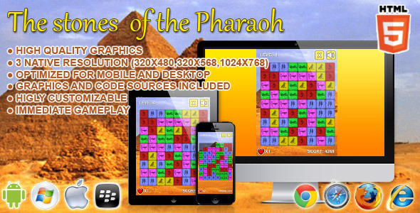 CodeCanyon The Stone of the Pharaoh HTML5 Game 6659929