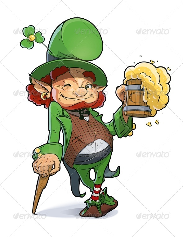 GraphicRiver Dwarf with Beer Illustration For Saint Patricks 6659930