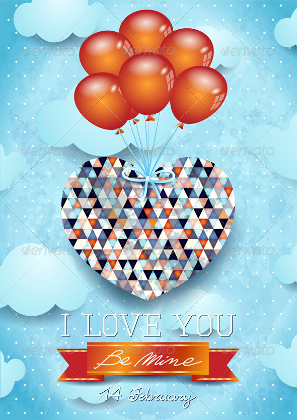 Heart and Balloons, Valentine Card